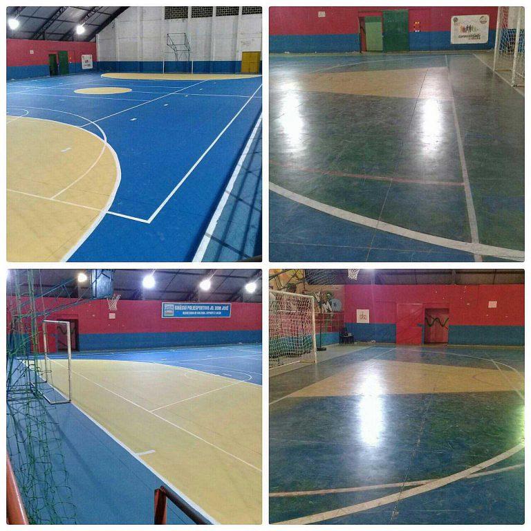 Quadras esportivas recebem pintura nova em ação conjunta com comunidades